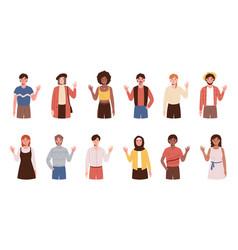 large set diverse people standing waving vector image