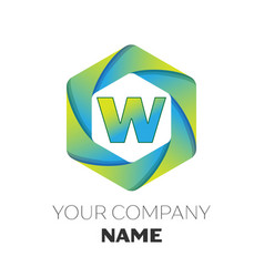 letter w logo symbol on colorful hexagonal vector image
