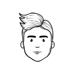 Line nice fece man with hairstyle vector