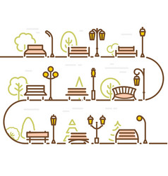 linear abstract street with park elements forest vector image