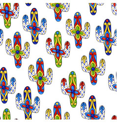 Mexican seamless pattern with cactuses vector