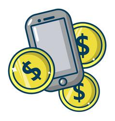 mobile money icon cartoon style vector image