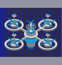 modern drone closeup helicopter device vector image