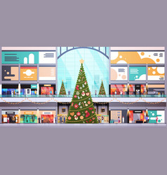 Modern shopping mall center decorated vector