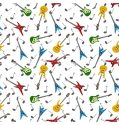Music seamless pattern with guitars vector