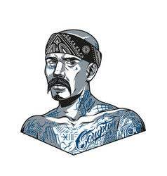 Mustached latino man in bandana vector
