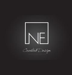 Ne square frame letter logo design with black and vector