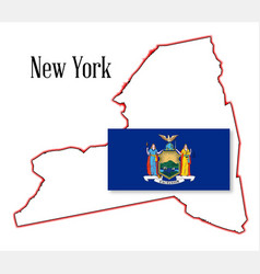 New york state map and flag vector