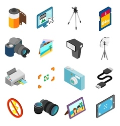 Photography icons set isometric 3d style vector