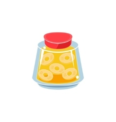 Pinapple jam in transparent jar vector