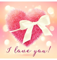 Pink fluffy heart with white bow greeting card vector