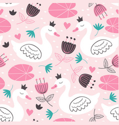 pink seamless pattern with white princess swan vector image