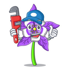 Plumber columbine flower mascot cartoon vector