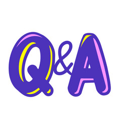 Q and a letters in cartoon style question vector