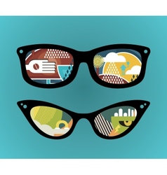 Retro sunglasses with super abstract reflection vector image