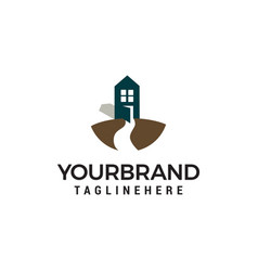 road and house logo design concept template vector image