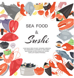 seafood and sushi restaurant banner poster vector image