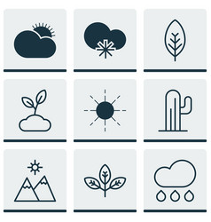 Set of 9 harmony icons includes sprout rain vector
