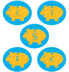 Set of piggy bank color icon vector image