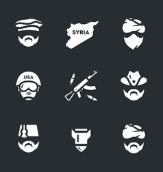set of war syria icons vector image