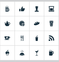 Set simple beverage icons vector