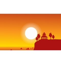 Silhouette of pavilion on seaside scenery vector