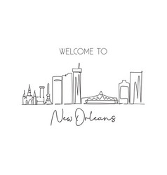 single continuous line drawing new orleans city vector image