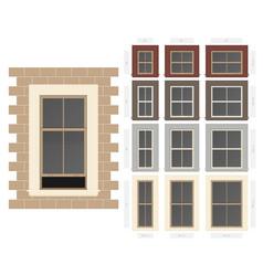 Single hung centre bar composite window set in vector