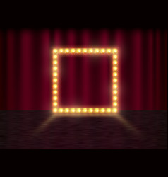 square frame with glowing shiny light bulbs vector image