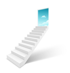Stairway with open door heaven ladder staircase vector