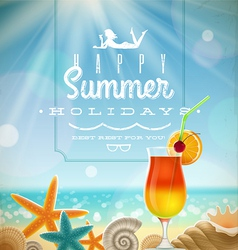 Summer holidays with lettering emblem vector