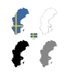 sweden country black silhouette and with flag vector image