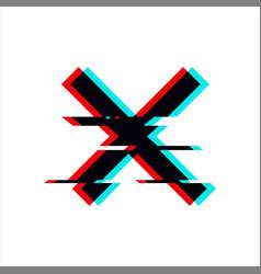Symbol cross in glitch style geometric vector