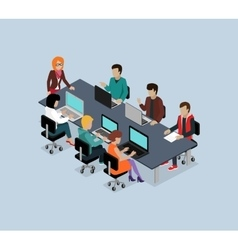 Teamwork 3d Isometric Business Team vector