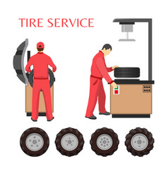 tire service poster in cartoon style vector image