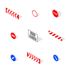 under construction road sign in 3d isometric style vector image