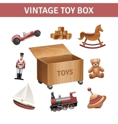 Vintage Toy Box Set vector image