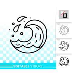 wave water simple aqua drop black line icon vector image