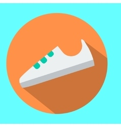 White sneaker sport shoe icon in flat style with vector