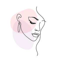 Woman face portrait in minimalist modern style vector