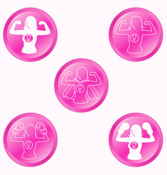 woman strength round pink buttons set vector image