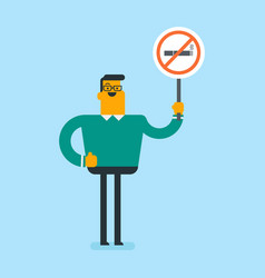 Young caucasian white man holding no smoking sign vector