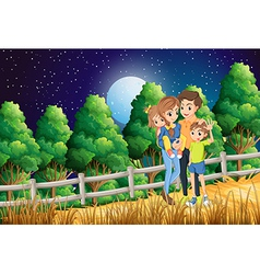A family at the forest vector image vector image