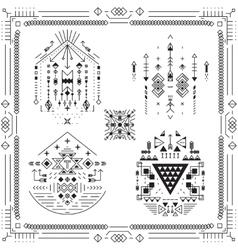 Boho tribal ethnic elements vector