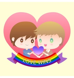 Cute cartoon or mascot gay man lover in heart vector