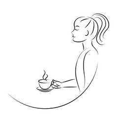 line art woman drinking coffee vector image