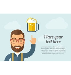 Man pointing the mug of beer icon vector image