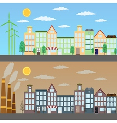 View of green city and pollution vector image