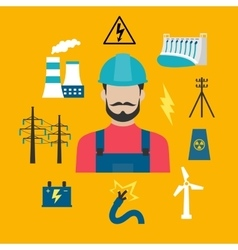Electricity industry concept with power icons vector