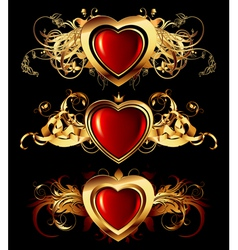 heart forms with ornate elements vector image